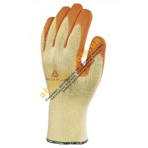 Перчатки защитные Delta Plus VE730OR, оранжевое рельефное латексное покрытие