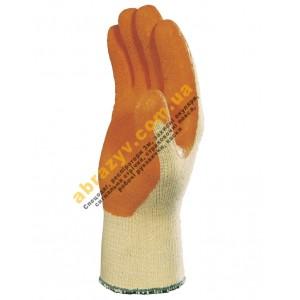 Перчатки защитные Delta Plus VE730OR, оранжевое рельефное латексное покрытие 2