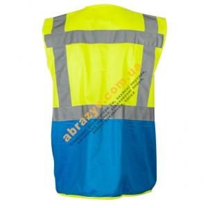 Жилет сигнальный светоотражающий Sizam Coventry желтый-синий 2