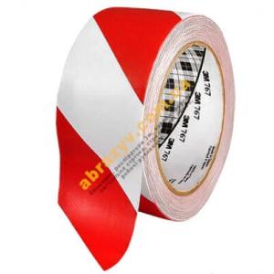 Клейка стрічка скотч вінілова 3М 767I червоно-біла 33м