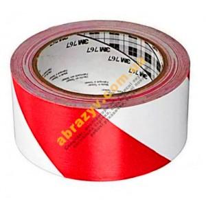Клейка стрічка скотч вінілова 3М 767I червоно-біла 33м 2